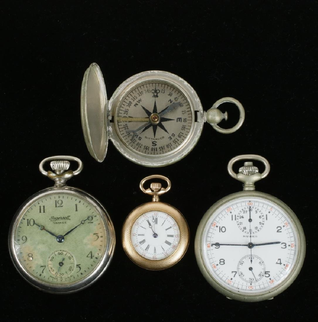 (3) POCKET WATCHES & (1) COMPASS