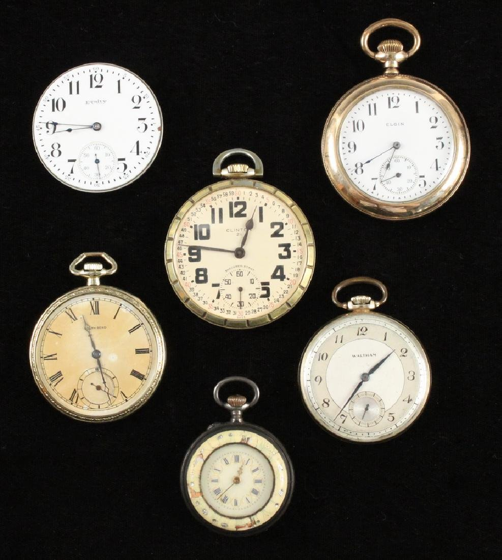 (6) OPEN FACE POCKET WATCHES