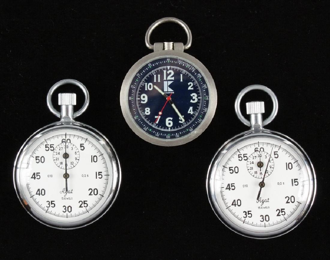 (2) RUSSIAN AGAT STOPWATCHES & (1) POCKET WATCH