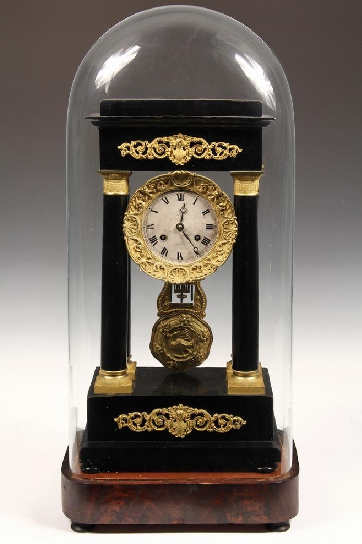 FRENCH MANTEL CLOCK UNDER GLASS DOME