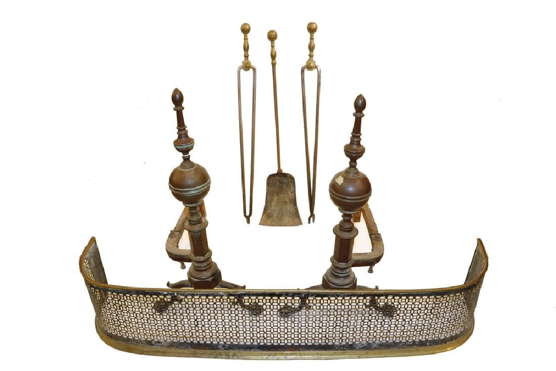 PERIOD BRASS FIREPLACE SET