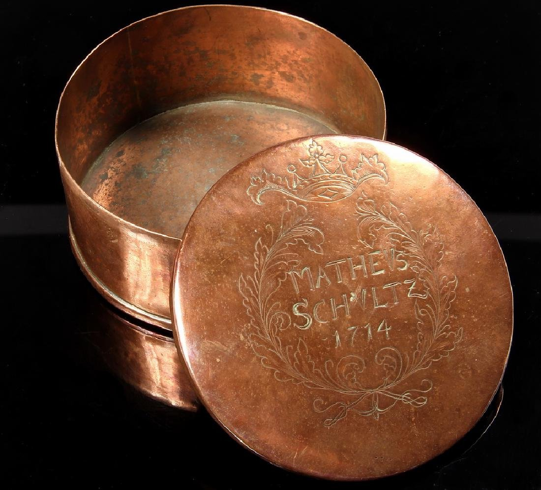 17TH C. COPPER SNUFF CANISTER