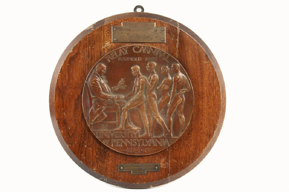 BRONZE RELIEF PLAQUE, ATHLETIC AWARD