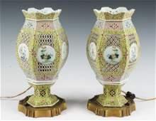 PAIR CHINESE PORCELAIN LANTERNS AS LAMPS