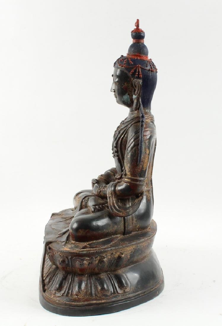BRONZE BUDDHA ON LOTUS THRONE - 2