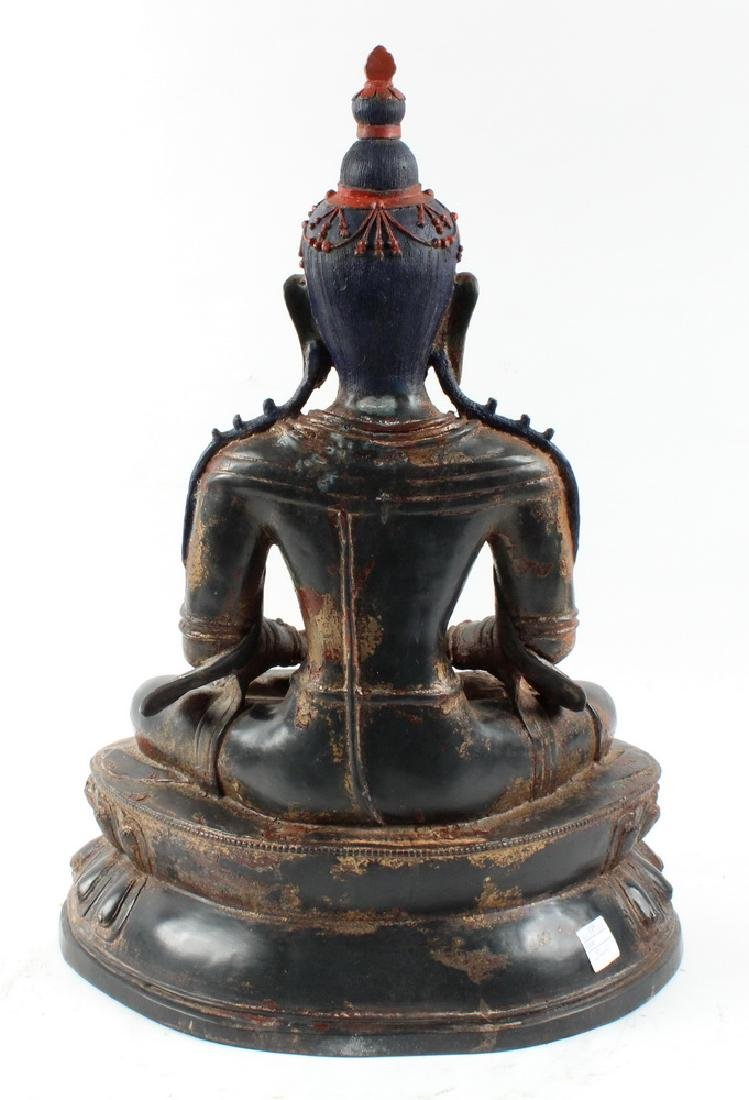 BRONZE BUDDHA ON LOTUS THRONE - 3