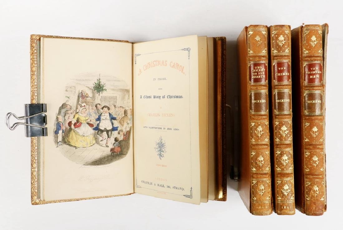 "(4 VOL SET) DICKENS ""CHRISTMAS BOOKS"" IN FINE BINDINGS,"
