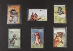 (6) RARE LOUIS WAIN CAT POSTCARDS