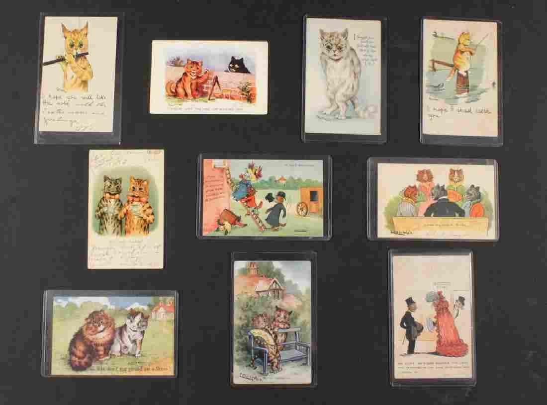(10) RARE LOUIS WAIN CAT POSTCARDS