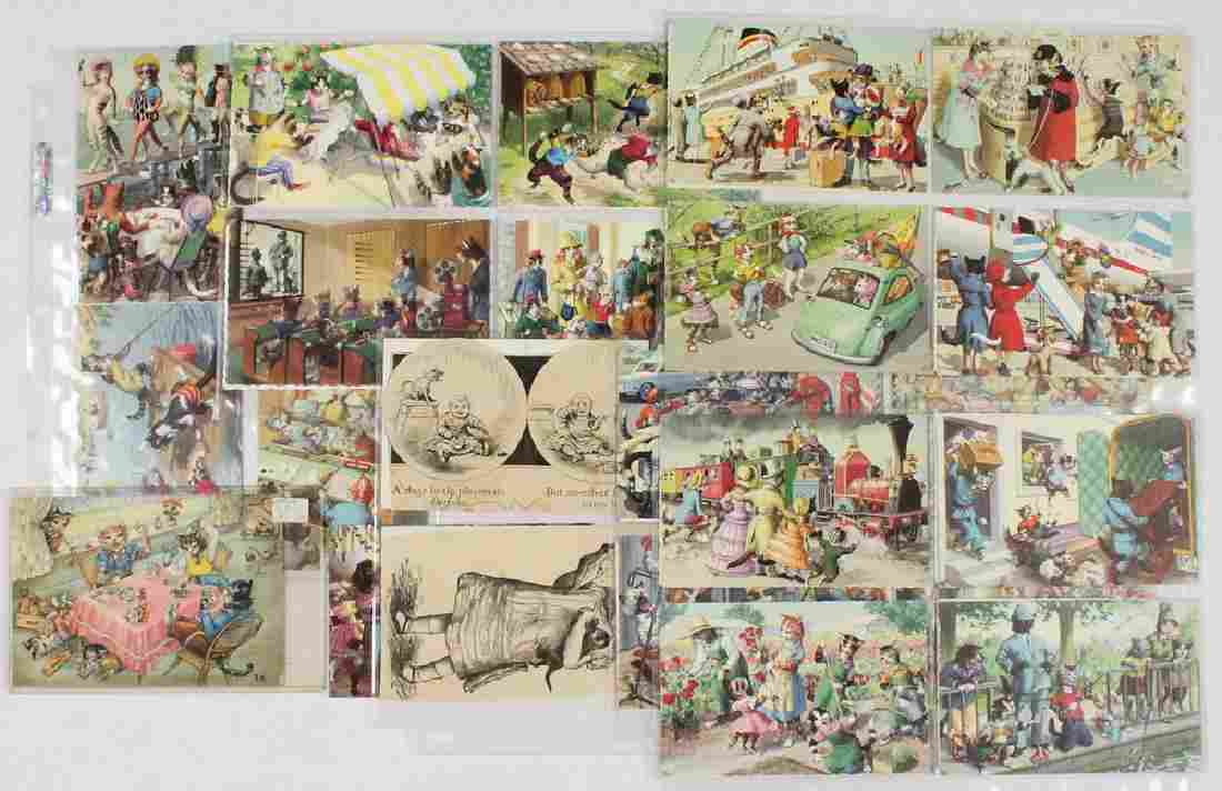 APPROX (100) CAT THEMED POSTCARDS BY ALFRED MAINZER