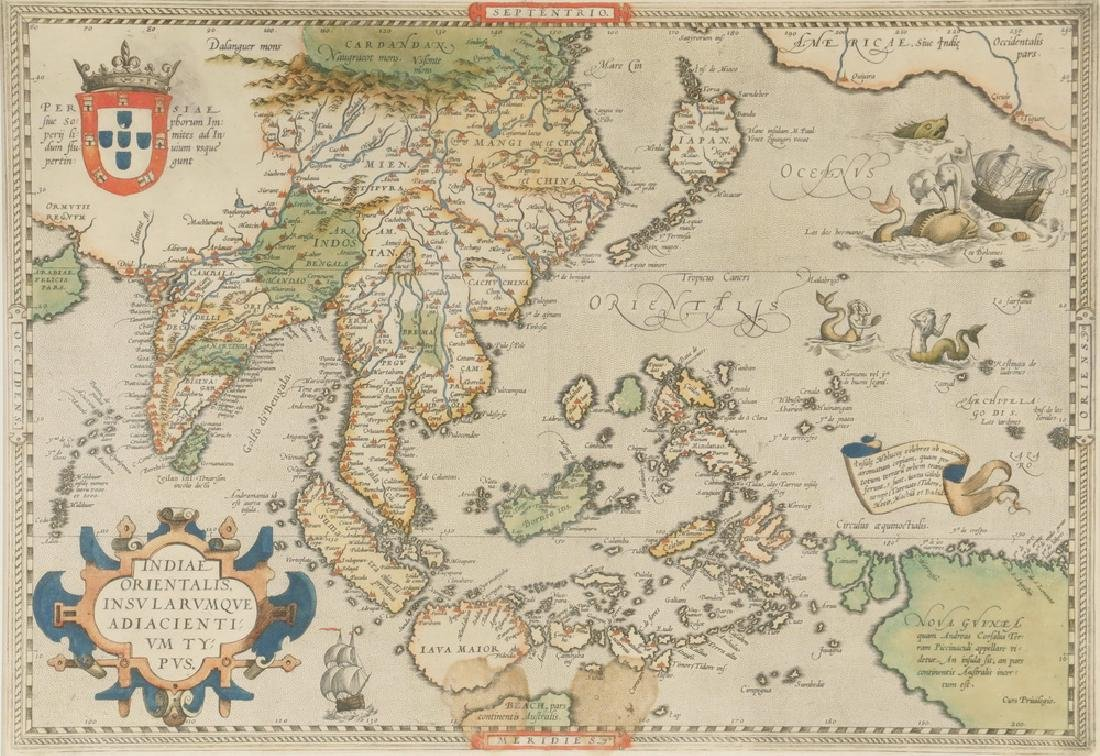 RARE MAP OF SOUTHEAST ASIA AND THE PACIFIC BY ORTELIUS, - 2
