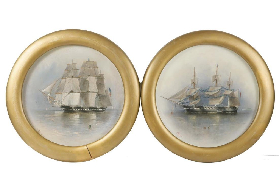 (2) 19TH C. SHIP'S PORTRAITS SIGNED E.T. BAKER
