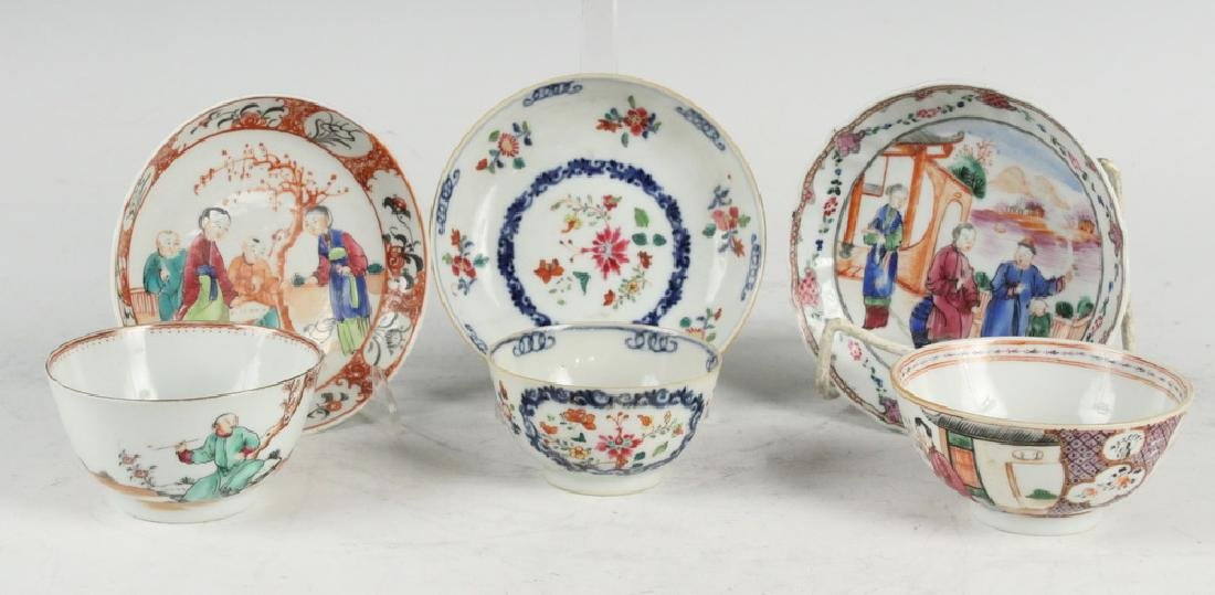 (3) CHINESE PORCELAIN CUPS & SAUCERS