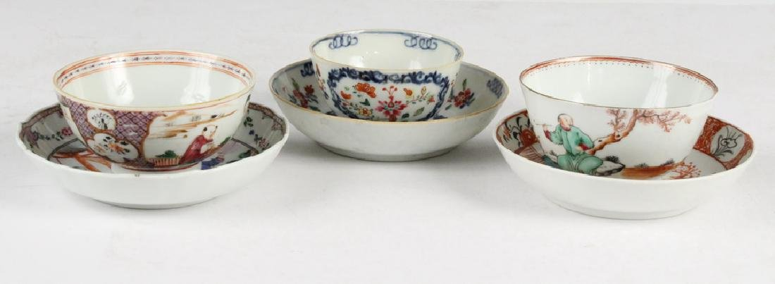 (3) CHINESE PORCELAIN CUPS & SAUCERS - 2