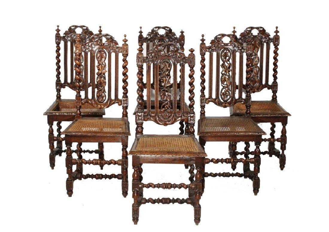 (SET OF 6) ENGLISH OAK DINING CHAIRS