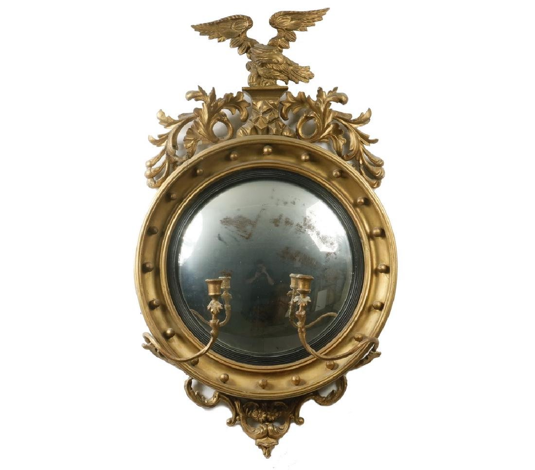 FEDERAL PERIOD BULL'S-EYE MIRROR WITH SCONCES