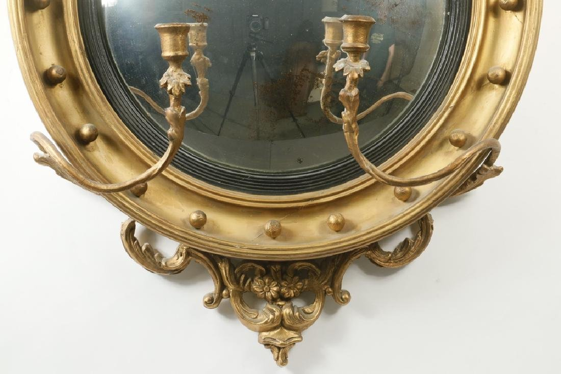 FEDERAL PERIOD BULL'S-EYE MIRROR WITH SCONCES - 3