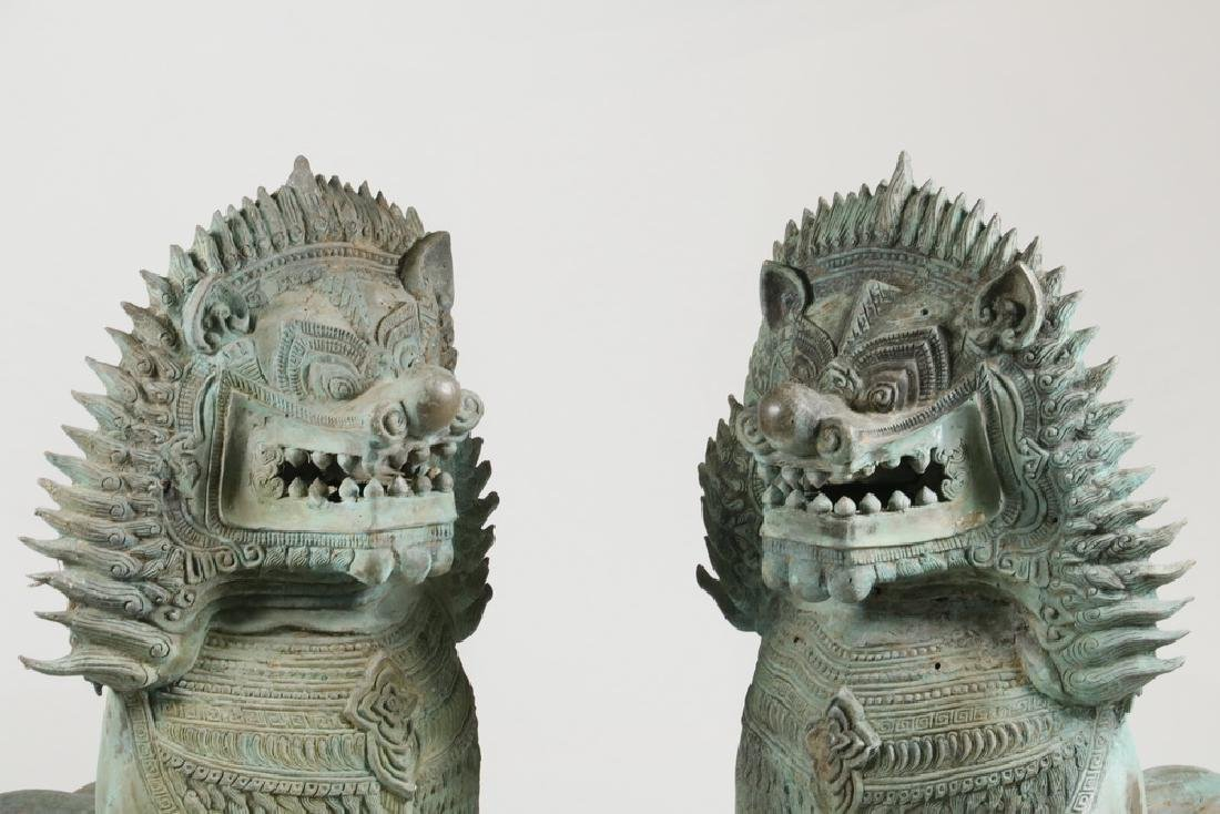 PAIR OF THAI TEMPLE GUARDIAN FIGURES IN FAUX BRONZE - 3
