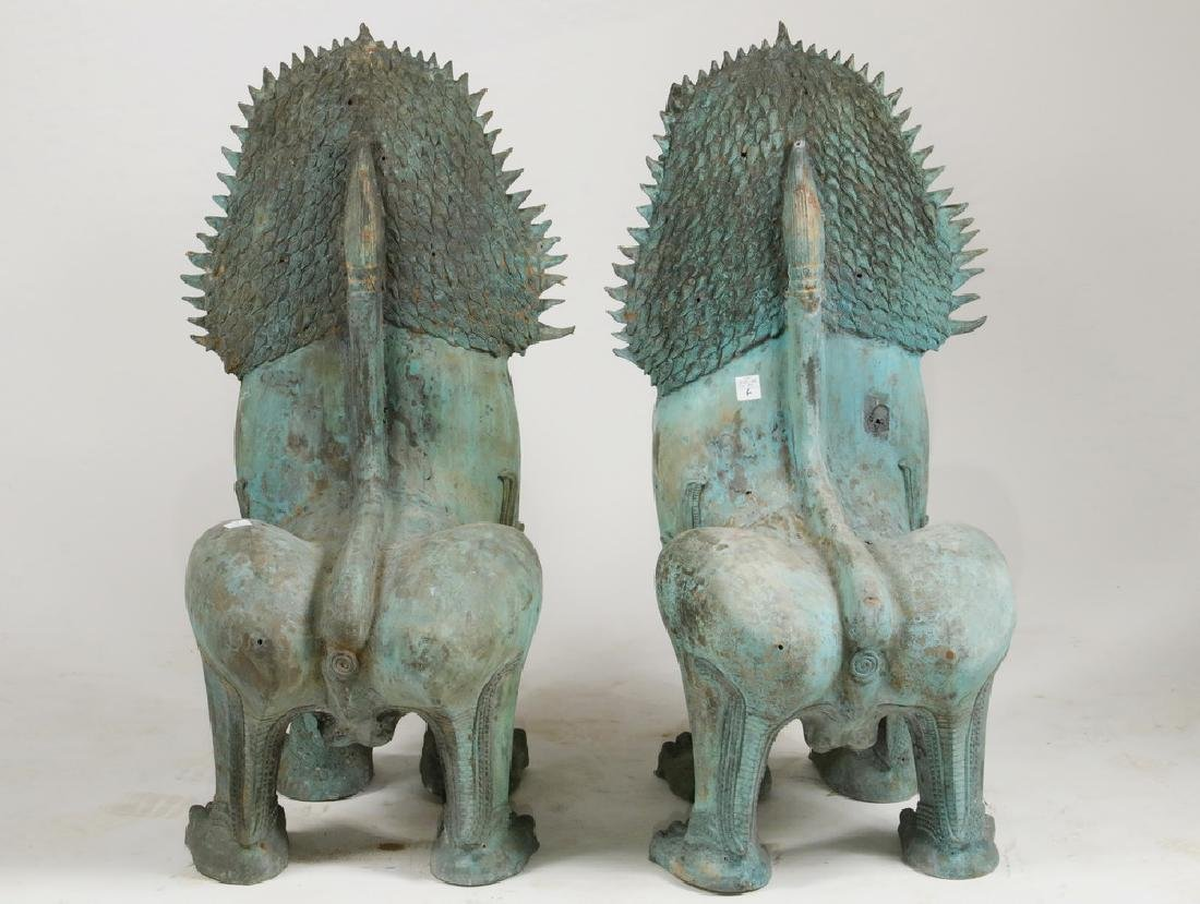 PAIR OF THAI TEMPLE GUARDIAN FIGURES IN FAUX BRONZE - 4