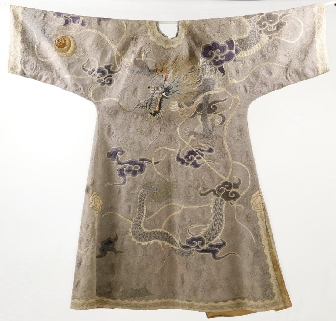 CHINESE EMBROIDERED SILK COURT ROBE WITH DISPLAY POLE