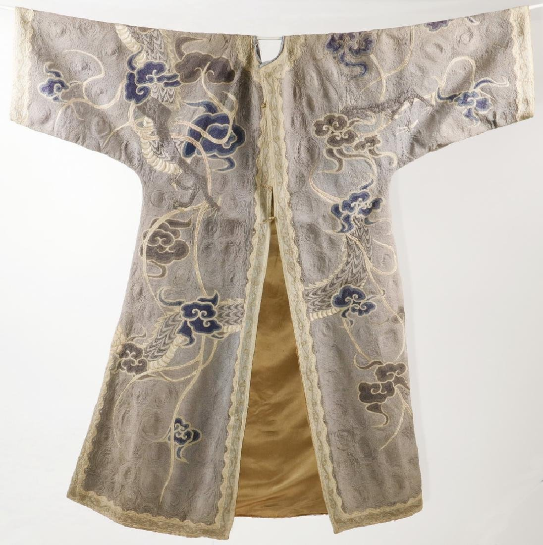 CHINESE EMBROIDERED SILK COURT ROBE WITH DISPLAY POLE - 2