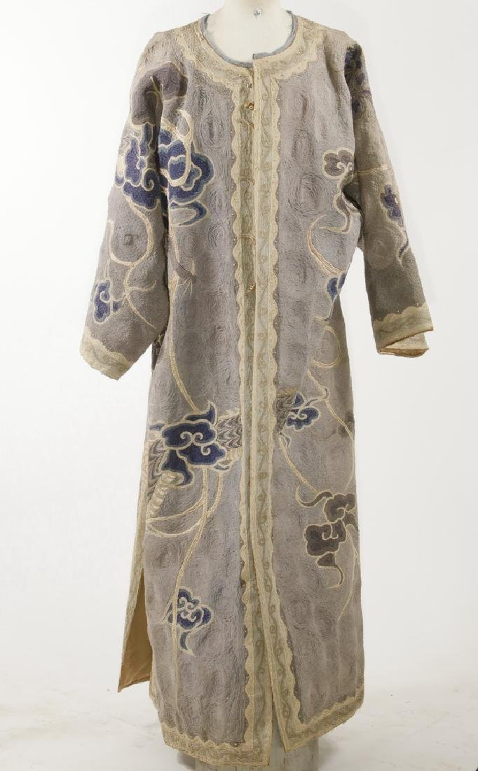 CHINESE EMBROIDERED SILK COURT ROBE WITH DISPLAY POLE - 3