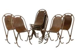 SET OF 8 RETRO METAL PATIO CHAIRS