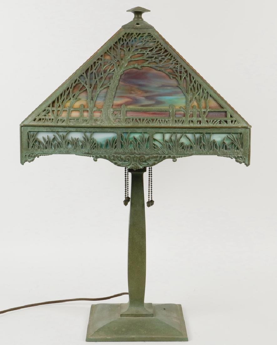 ARTS & CRAFTS SLAG GLASS LAMP - 2