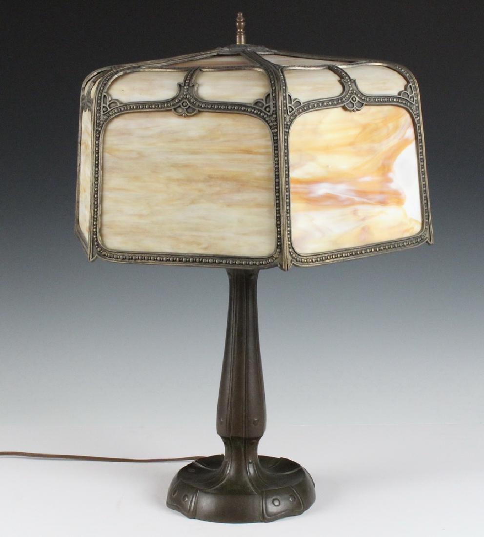 MILLER SLAG GLASS SHADE & HANDEL LAMP BASE