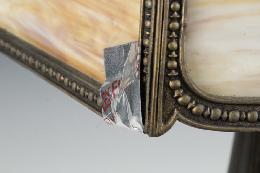 MILLER SLAG GLASS SHADE & HANDEL LAMP BASE - 3