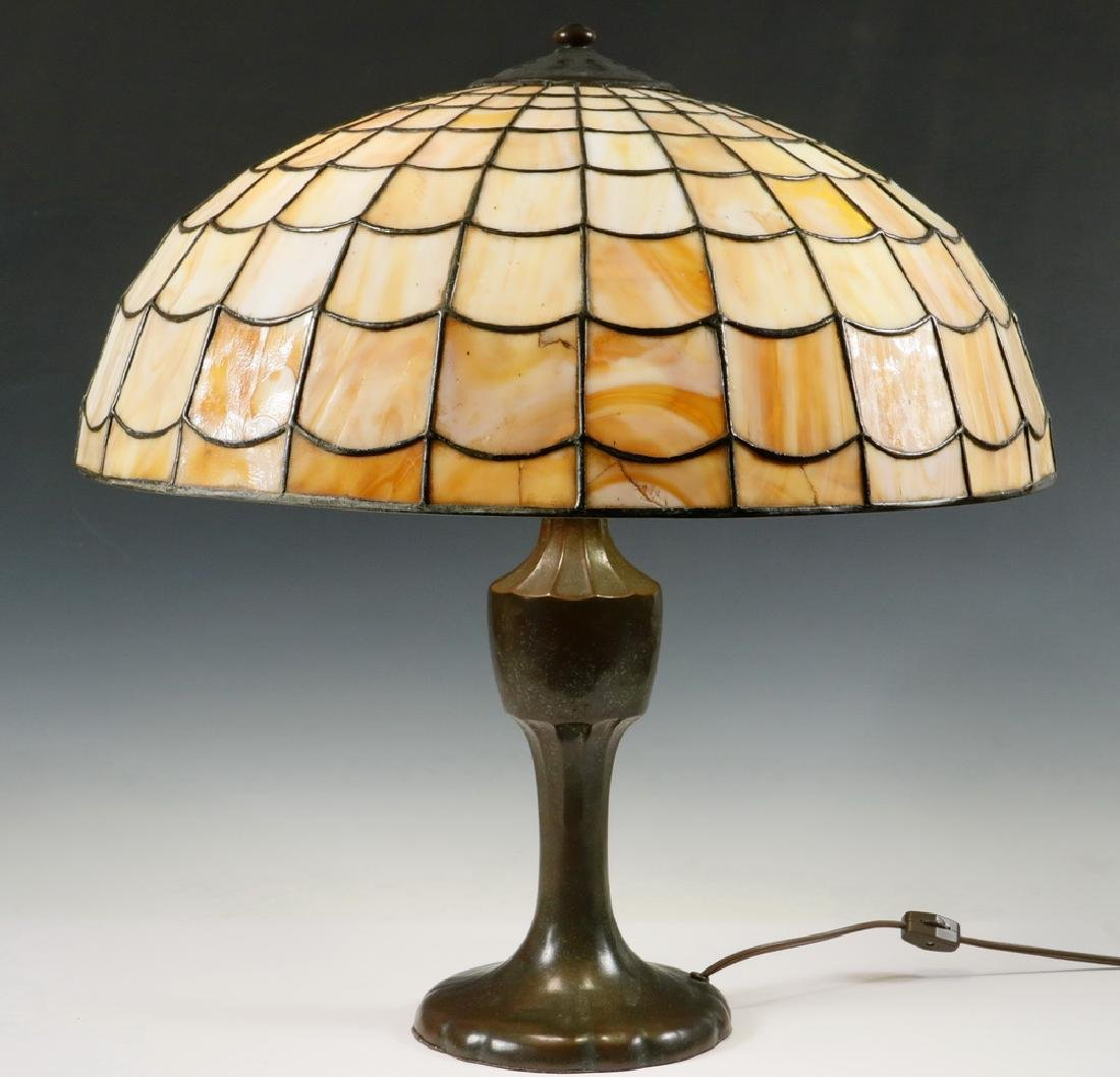 TABLE LAMP WITH HANDEL LEADED GLASS SHADE
