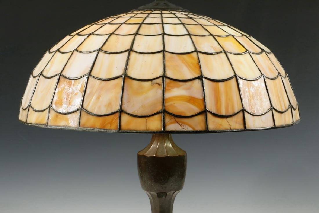 TABLE LAMP WITH HANDEL LEADED GLASS SHADE - 2