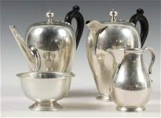 4 ENGLISH STERLING TEA SERVICE ITEMS