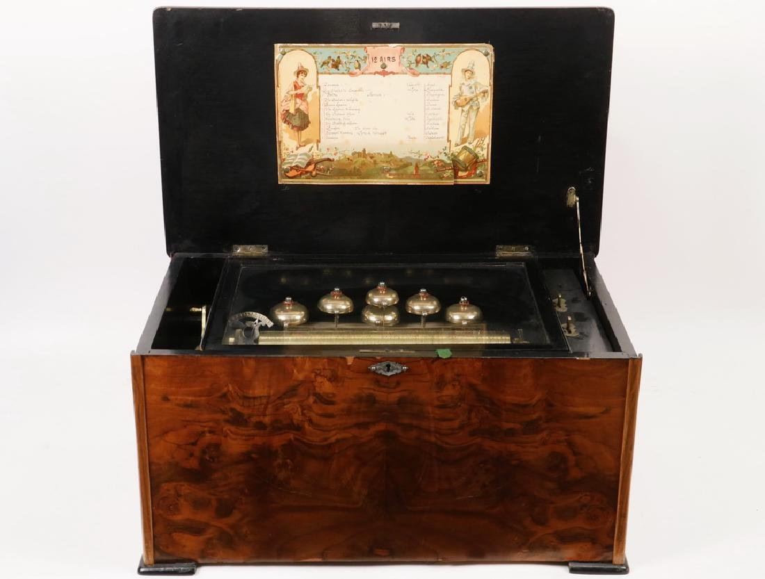 12 AIRE 6 BELL SWISS CYLINDER MUSIC BOX