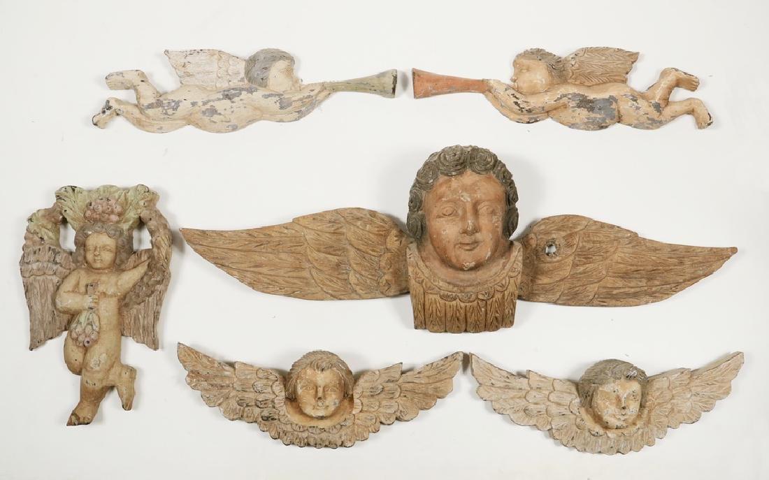 (6) CARVED WOODEN ANGELS