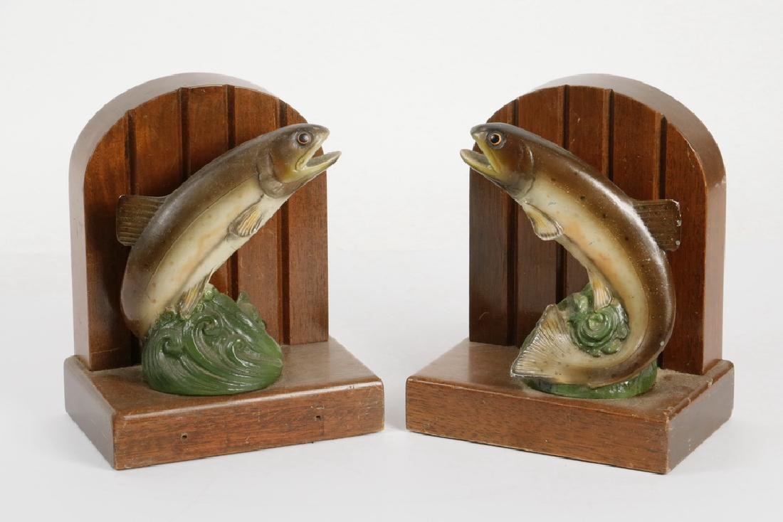 PAIR OF TROUT BOOKENDS