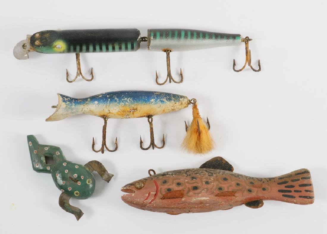 VINTAGE FISHING ITEMS: (2) DECOYS & (2) LURES