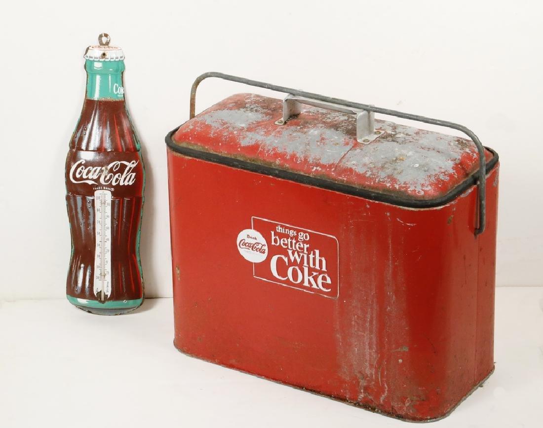 VINTAGE COCA COLA COOLER & BOTTLE FORM THERMOMETER