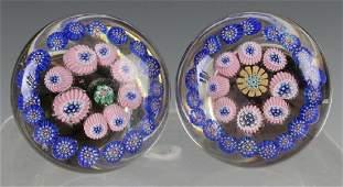 PAIR MILLEFIORI ART GLASS DOORKNOBS