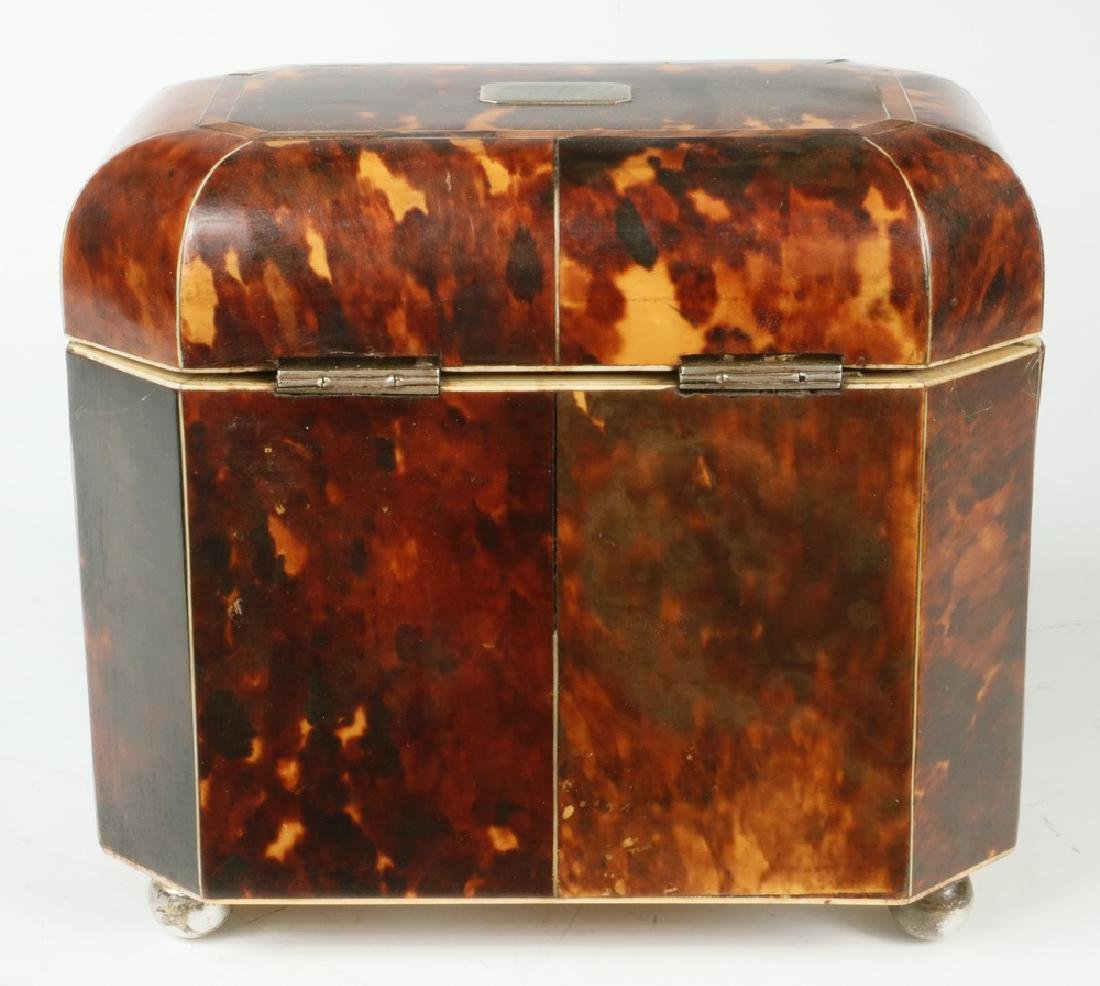 TORTOISESHELL TEA CADDY - 4