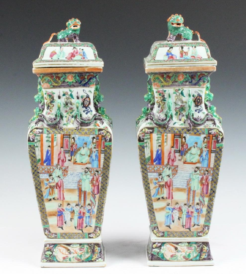 PAIR CHINESE LIDDED URNS