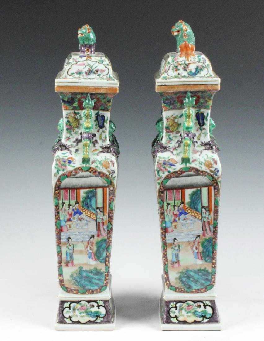 PAIR CHINESE LIDDED URNS - 2