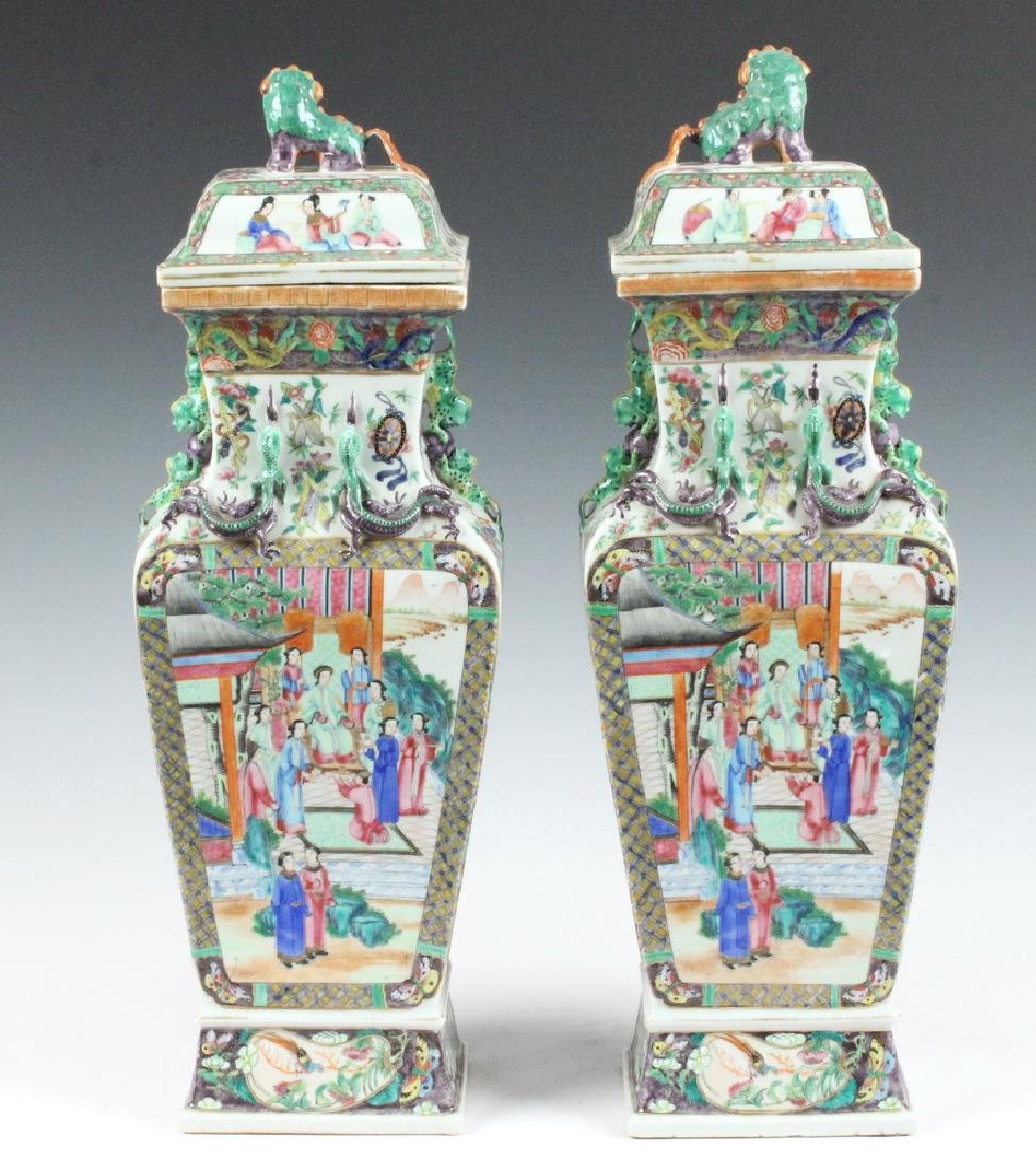 PAIR CHINESE LIDDED URNS - 3