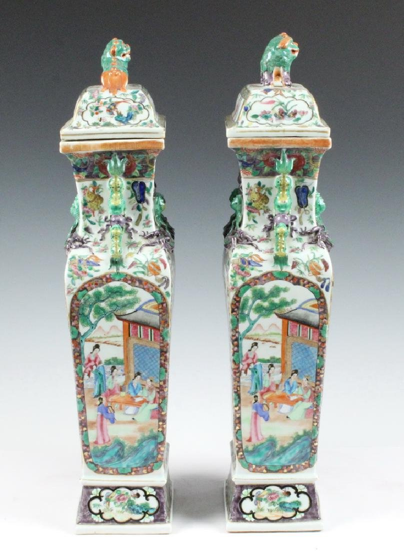 PAIR CHINESE LIDDED URNS - 4