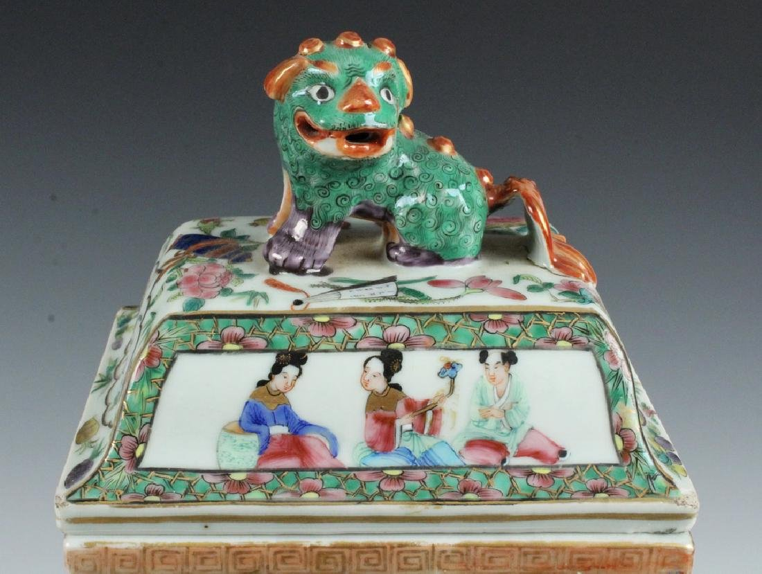 PAIR CHINESE LIDDED URNS - 7