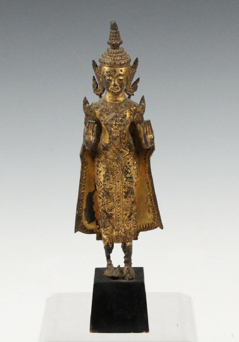 17TH C. GILT BRONZE THAI BUDDHA