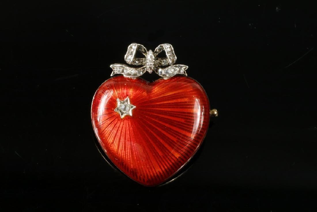 FABERGE JEWELED GUILLOCHE ENAMEL GOLD HEART BROOCH