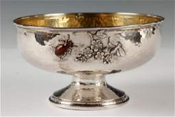 WHITING MIXED METAL STERLING FOOTED BOWL
