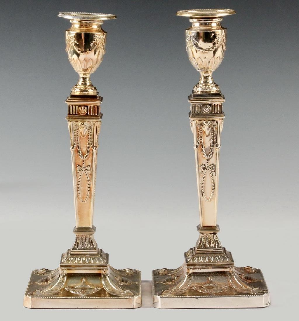 PAIR ENGLISH STERLING SILVER CANDLESTICKS