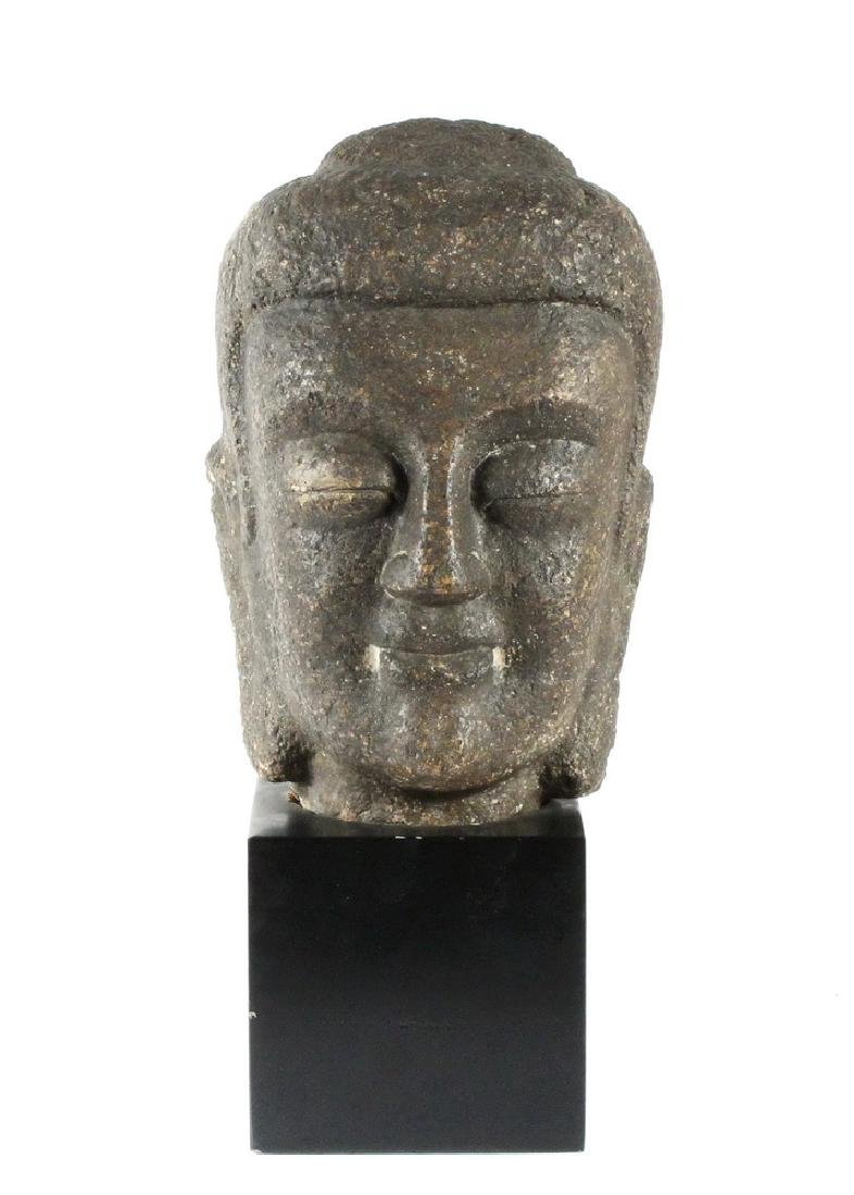 JAPANESE CARVED STONE BUDDHA HEAD